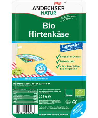 ANDECHSER NATUR Organic herder's cheese 30% in slices