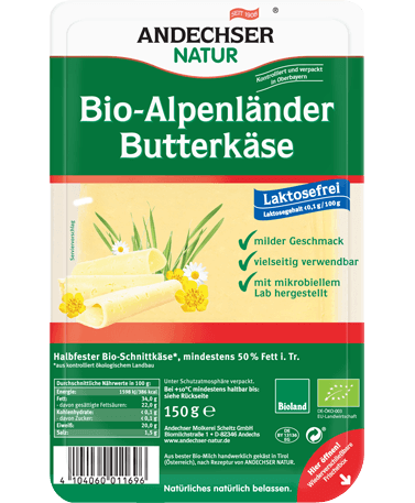 ANDECHSER NATUR Organic Alpenlaender butter cheese 50% 150g in slices
