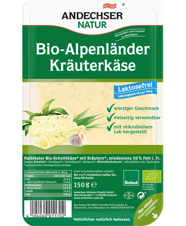 ANDECHSER NATUR Organic Alpenlaender butter cheese with herbs 50% 150g in slices