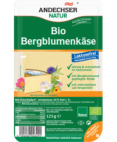 ANDECHSER NATUR Organic mountain flower cheese in slices 50% 125g