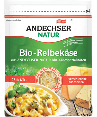 ANDECHSER NATUR Organic grated cheese 45% 150g