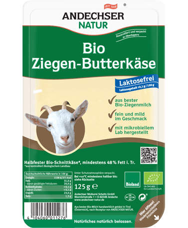 ANDECHSER NATUR Organic goat butter cheese in slices 48% 125g